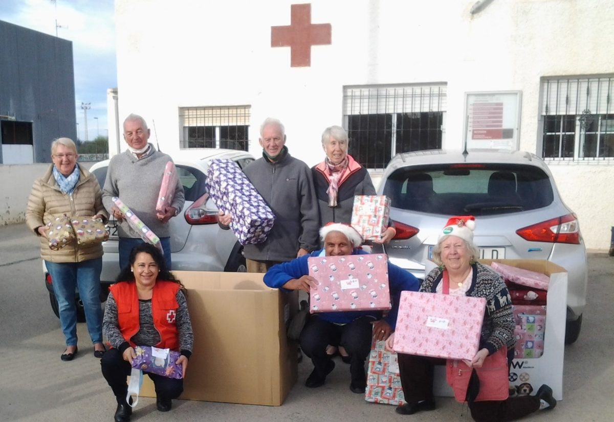 One hundred shoeboxes full of toys collected for needy children.